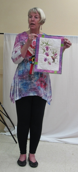 Dianne Decker-Houser - Hungry Hummingbird, Hand Painted, Quilted